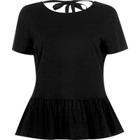 River Island Womens Black Tie Back Soft Peplum T Shirt