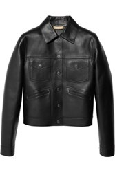 Michael Kors Collection Bonded Leather Jacket Black