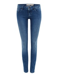 Calvin Klein Mid Rise Skinny Jean In Mid Eighties Blue Denim Mid Wash