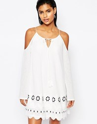 Moon River Open Shoulder Dress With Scalloped Trim Off White