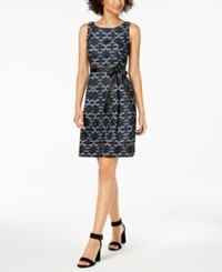 Robbie Bee Petite Belted Lace A Line Dress Blue Black