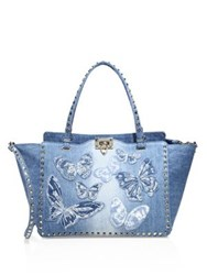 Valentino Medium Rockstud Butterfly Embroidered Denim Tote Light Denim