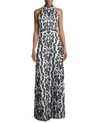 Alice Olivia Makeena Embellished Lace Gown Black White Size 8