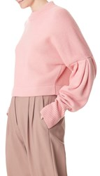 Tibi Cashmere Pleated Sleeve Sweater