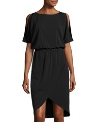 Tahari By Arthur S. Levine Tulip Skirt Short Sleeve Knit Dress Black