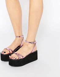 Asos Tip Top Barely There Flatform Sandals Pink Metallic