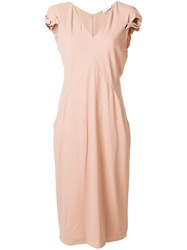 Vionnet V Neck Dress Nude And Neutrals