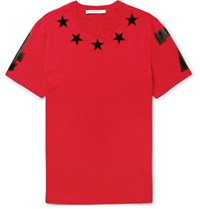 Givenchy Cuban Fit Appliqued Cotton Jersey T Shirt Red
