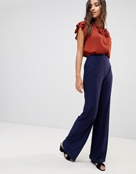 Love Textured Wide Leg Trousers Navy