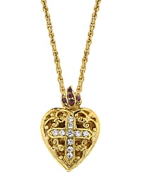 Vatican Necklace Gold Tone Crystal Cross Heart Locket