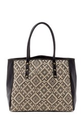 San Diego Hat Company Woven Straw Faux Leather Tote Black