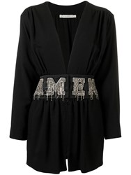 Amen Crystal Embellished Mini Dress Black