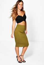 Boohoo Nadia Basic Midi Bodycon Skirt Moss
