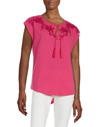 Lord And Taylor Embroidered Blouse Cabaret