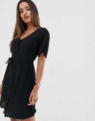 Mango Button Front Dress In Black