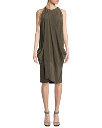 Urban Zen Washed Silk Crossover Dress Green