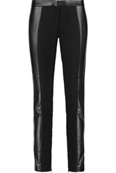 Tory Burch Mabley Faux Leather And Stretch Jersey Skinny Pants Black