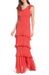 Topshop Ruffle Maxi Dress Red