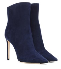 Jimmy Choo Helaine 100 Suede Ankle Boots Blue