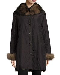 Belle Fare Reversible Packable Fox Fur Long Coat Black