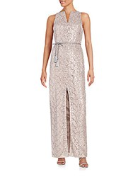 Kay Unger Sequined Front Slit Gown Mauve