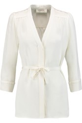 Goat Brittany Belted Silk Crepe De Chine Blouse Cream