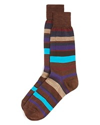Bloomingdale's The Men's Store At Stripe Merino Wool Blend Socks Brown