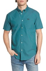 Rvca Men's 'That'll Do' Slim Fit Short Sleeve Oxford Shirt Teal Green