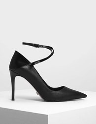 Charles And Keith Criss Cross Ankle Strap Leather Heels Black