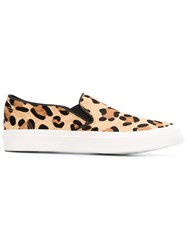 Junya Watanabe Comme Des Gara Ons Leopard Print Slip On Sneakers Nude And Neutrals