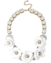 Inc International Concepts M. Haskell For Inc Gold Tone White Flower Beaded Drama Necklace Only At Macy's