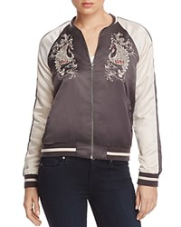 Vero Moda Phoenix Embroidered Color Block Bomber Jacket Asphalt