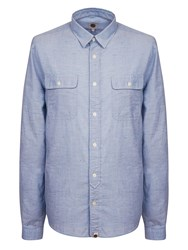Pretty Green Blyton Long Sleeve Shirt Blue