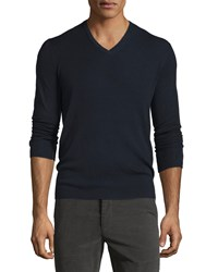 Rag And Bone Long Sleeve V Neck Wool Sweater Navy