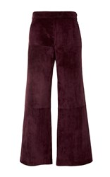 Derek Lam Leather Paneled Gaucho Pants Burgundy