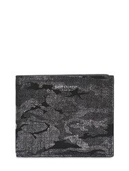 Saint Laurent Lame Camouflage Leather Classic Wallet