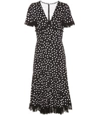 Dolce And Gabbana Polka Dotted Silk Blend Dress Black