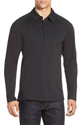 Men's Nau 'Polonium' Long Sleeve Jersey Polo Caviar