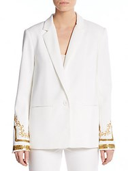 Abs By Allen Schwartz Embellished Blazer Off White