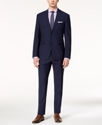 Vince Camuto Men's Coolmax Slim Fit Stretch Navy Plaid Suit