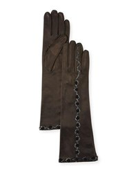 Portolano Sequin And Flower Embroidery Napa Leather Gloves Black