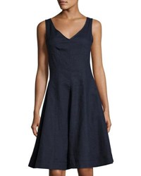 Neiman Marcus Fit And Flare V Neck Linen Dress Navy