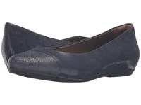 Hanover Earthies Navy Printed Suede Women's Flat Shoes