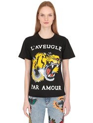 Gucci Tiger Printed Cotton Jersey T Shirt