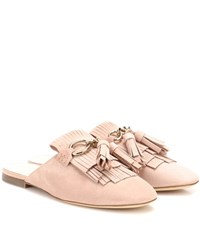Tod's Embellished Suede Mules Pink