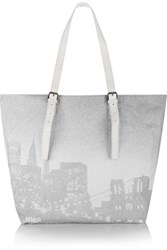 Maison Martin Margiela Mm6 Printed Cotton And Leather Tote White