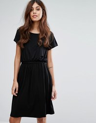 Warehouse T Shirt Dress With Ruched Waist Black