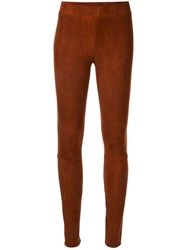 The Row Suede Leggings Brown