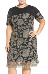 Tadashi Shoji Plus Size Women's Lace Overlay Short Sleeve Scuba Knit Dress