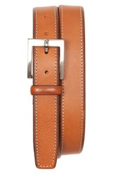 Men's Tommy Bahama Contrast Stitch Leather Belt Tan